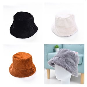 Women'S Autumn And Winter Plush Basin Hat Fashion Thick Fur Warm Hat New Solid Color Casual Fisherman Hat
