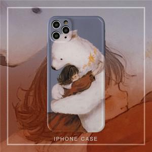 1dwFun girl bear 12 11pro max mini X XS XR   SE mobile phone vip 7p female 8plus silicone camera protective case
