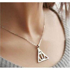 100pcs Harry Book The Deathly Hallows Necklace Antique Silver Bronze Gold Deathly Hallows Pendants Potter Fashion J sqcMZY new_dhbest
