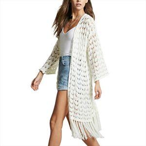 Chic V Neck Hand Knitted Cardigan Long Knit Tassel Flower Hook Fringed Jacket Kimono Hollow Long Crochet Coat