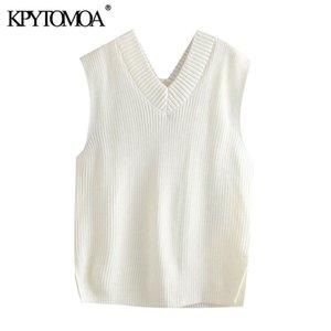 Kpytomoa Donne Fashion Allentati Maglia maglia maglia maglione vintage senza maniche sniconi laterali