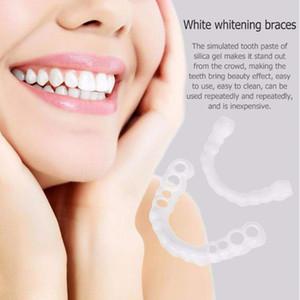Dentes Maange superior e inferior folheados Anti-verdadeiros Suspensórios Snap On dentes sorriso Whitening dentadura dentes confortável Cubra Veneer