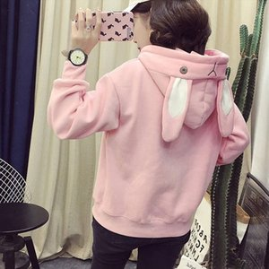 Home amp;Nest Harajuku Kawaii Hoodies Women Top Cute Rabbit Ear Sweatshirt Female Oversized Hooded Pullover Fashion Streetwear 2020