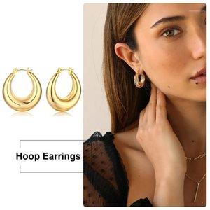 Chunky Gold Creolen Ohrringe für Frauen Fat Röhre Ohrringe mollig Bohe Mädchen Weibliche Edelstahl Geschenke1