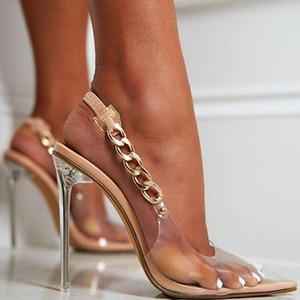 Yeni kadın ayakkabı Seksi Metal Zincir Elastik Kayış Bayanlar Sandalet Temizle Kristal Ince Topuklu Kadın Moda Rahat Düğün Ayakkabı1