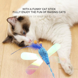 Cat Toy with Sequins Plush Butterfly Dragonfly Feather Funny Cat Stick Puzzle Interaction Attracts Attention Toy