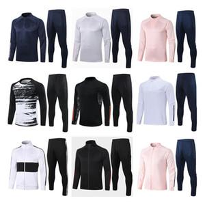 2020 2021 Uomo Pink Tracksuit Kids Football Football Training Suit Kit 20 21 uomini Blue Kids Soccer Tracksuit Tracksuiti da jogging Giacca da jogging