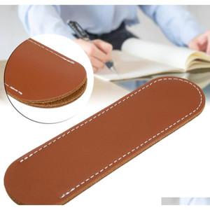 new brown leather fountain pen bag handmade single pen pencil bag holder storage sleeve pouch for school student gift 155*37mm FE12x