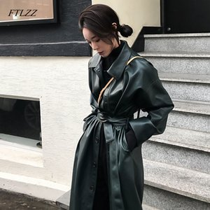 FTLZZ Faux Longo Nova Primavera Loose Women Belt PU Leather casaco corta-vento Trench Jacket Magro Outono