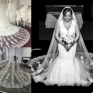 2021 One Layer Bridal Veils with Comb Lace Appliqued Customise Wedding Veil White Ivory Champaghe Wedding Accessories