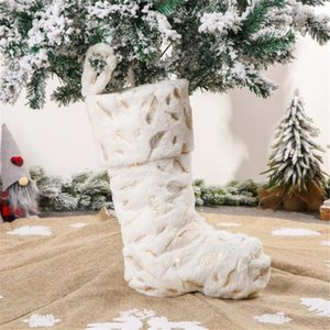 White Cotton Christmas Children Stockings Candy Socks Gifts Bag With Hanging Loops Xmas Tree Fireplace Decorations Navidad#35