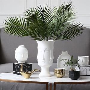 Ceramic Vase Muse Face Lip Multifaceted Vase Home Decoration Vase Artificial Flower Jewelry LJ201209
