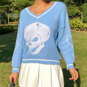 Yiciya Otoño Y2K Suéteres Skulls Skulls Jerseys V Cuello de punto Ropa de punto Suelta Casual Punto Tops Mujer Streetwear E-Girl Tops Blue 201130