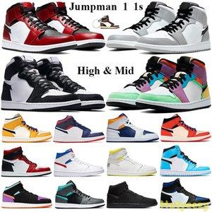 Jumpman 1 1s Chaussures de basket-ball haut tordent Mid lumière gris fumée Chicago Toe SE USA multi-couleurs Hommes Femmes Chaussures serpent satin Entraîneur Trousseau