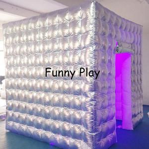 Silber Aufblasbare Fotokabine Zelt LED Kasten Requisiten für Hochzeit Geburtstagsfeier Ausstellung Fotografie Studio
