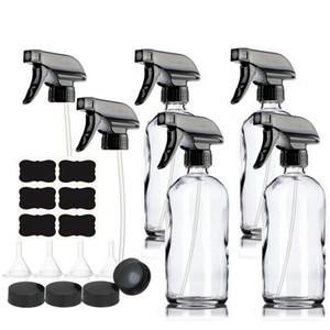 4pcs 500ml Klarglasflaschen Spray 16 Unzen für Reinigungs 201013 Ätherische Öle nachfüllbar Mist Strom Trigger-Sprayer Behälter leeren