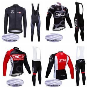 GCN 프로 팀의 새로운 자전거 저지 남성 긴 소매는 로파 Ciclismo 아저씨 겨울 열 양털 MTB 자전거 사이클링 의류 102719 설정