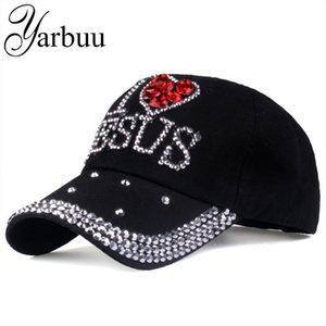 [YARBUU] قبعات البيسبول أزياء قبعة عالية الجودة للغطاء إلكتروني النساء JESUS القطن قابل للتعديل حجر الراين الدينيم قبعة 201019