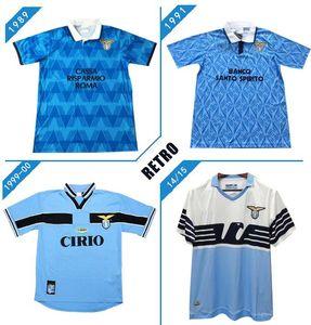 NCAA 2014-2015 Lazio Europeia Casa Retro Jersey 1989-2000 Salas Mihajlovic Veron Stankovic Mancini Nesta Nedved Vintage Futebol Shir