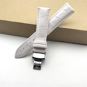 Wholesale watchband Genuine leather bracelet White watch strap Butterfly Clasp watchband 16 17 18 19 20 21 22 24mm watch band
