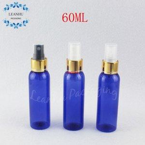 60 мл голубой круглый плечевой пластиковой бутылкой с золотым распылительным насосом, 60CC Пустой косметический контейнер с тонером / духи суб-бутылкиgood Package