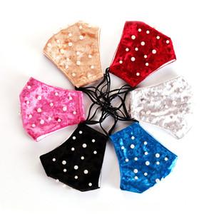 Mode Strass Perle Masken Waschbare Feste Farbe Atmungsaktive Baumwolle Mundabdeckung Party Gesichtsmaske Wiederverwendbare Radfahren Winddichte Maske GWE4293