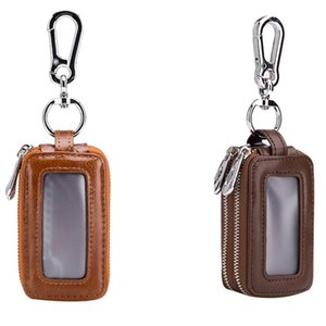 2 Pcs Leather Home Car Key Case Double Pocket Zipper Mini Wallet Keychain Transparent Pocket Yellow & Dark Brown