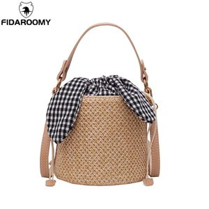 Japan Style Weaved Designer Beach Bag Women Travel Knitted Cylindrical Straw Tote Bucket Chain Designer Holiday Shoulder Bag
