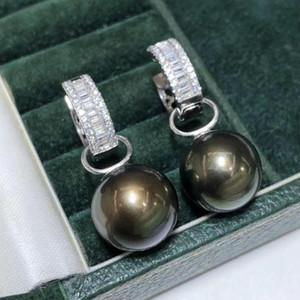 D327 Pearl Necklaces Fine Jewelry 925 Sterling Silver Natural 9-10mm Fresh Water Black Pearls Female's Earrings for Women