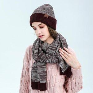 Baldauren grife Mulheres Scarf das luvas do chapéu conjunto de duas peças de inverno quente Set fêmeas chapéus cachecóis Men Drop Shipping