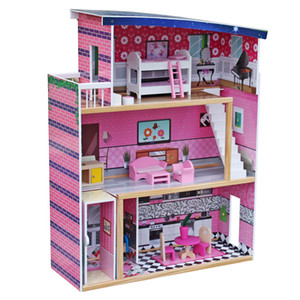 Large Childrens Wooden Dollhouse Fits Barbie Doll House w  18 Piece Furniture Kids Lovely Toy Gifts