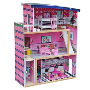 Большие детские деревянные кукольные домики вписываются в Barbie Doll House W / 18 шт. Мебель для детей Прекрасные игрушечные подарки