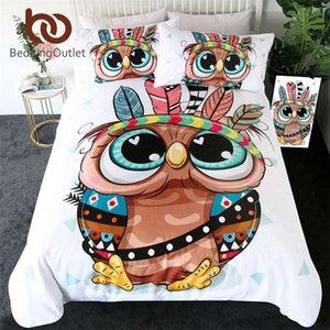 BeddingOutlet Cartoon Owl Bedding Set for Kids Tribal Feathers Duvet Cover Aztec Geometric Bed Set Colorful Bird Home Textiles