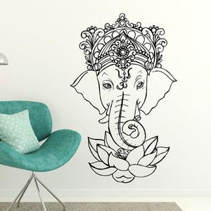 Elefante Buda Yoga Mandala Lotus Flower Adesivos de Parede Ganesha Vinil Decalques de Parede Decoração Casa Quartos de Living Removível Mural E502 201202