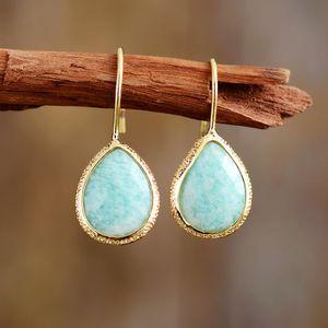 Natural Stone Earrings for Women Teardrop ite Dangle Earring Cute Elegant OL Earring Jewelry Femme Wholesale