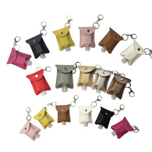 Outdoor Portable PU Leather Case Travel Hand Sanitizer Bottle Holder Refillable Reusable Empty Bottles and Keychain Set Holder