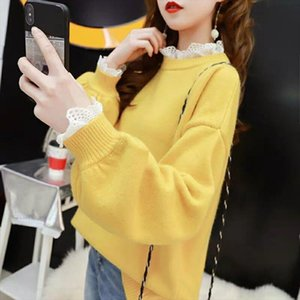 Lace Pullover Sweater Women 2020 Winter Spring Stitching Round Neck Loose Fit Warm Base Knitted Sweaters Sweet Female Flower