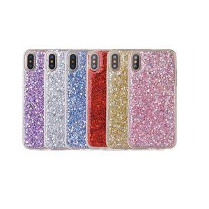 New iphone 12pro flash powder drop glue mobile phone case Sequin transparent iPhone 11 mobile phone case
