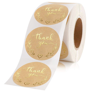 1.5inch 500pcs Kraft Paper Label Foil Thank You Stickers Scrapbooking Wedding Envelope Gift Seals Sticker