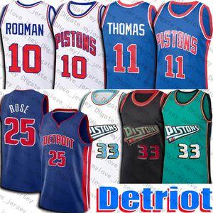 Derrick 25 Pallacanestro Rose Jerseys Detroits Jersey Retro Grant 33 Hill Isah 11 Thomas Jersey Dennis 10 Uniforme Rodman