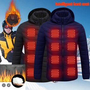 8 Areas Heated jacket USB Men Winter Electrical Heated Winter Jackets Smart Thermostat men Warm Hooded Heated Clothing 201019