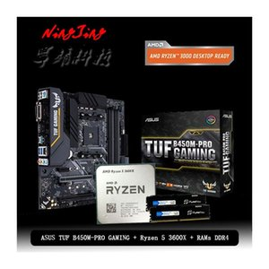 AMD Ryzen 5 3600X R5 3600X CPU+Asus TUF B450M PRO GAMING Motherboard + Pumeitou DDR4 2666MHz RAMs Suit Socket AM4 Without cooler