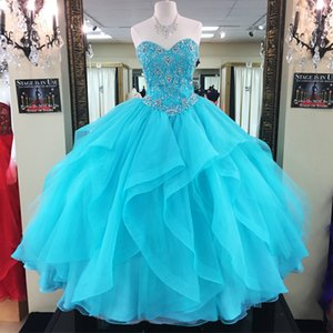 New Turquoise Quinceanera Dresses Ball Gown Organza Beaded Appliques Sweet 16 Dresses Plus Size Formal Evening Prom Gowns Party QC1548
