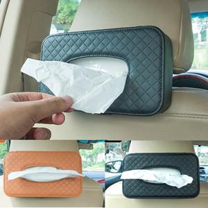 Automotive general leather peper box Benz BMW Audi GM model hanging tissue box car interior tissue box Buckle Strap Style Napkin OrgaLunizer