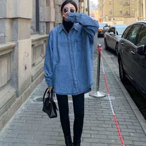 Новая Chunqiu корейская версия с длинными рукавами свободной моды синей блузки с блузкой под