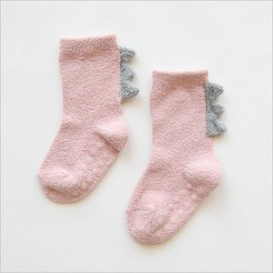 Kids Socks Winter Coral Fleece Socks Dinosaur Cartoon Stockings Thick Warm Indoor Floor Glue Antiskid Baby Kids Clothing SEA PPC5002