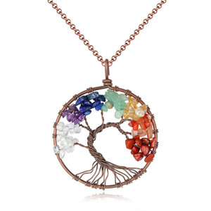 Tree of Life Pendant Natural Stone Amethyst Rose Crystal Necklace Gemstone Chakra Jewelry