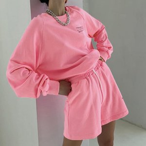 Casual Y2k Letter Print Oversized Sweat Suits Lounge Wear Sweatshirt And Shorts Two Piece Set Tracksuit Women Outfits Streetwear 201120