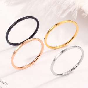 New Arrival 1mm Gold Silver Black Rose Gold Stainless Steel Band Rings for Women men Simple Fine Engagement Rings Fashion Jewelry Gift
