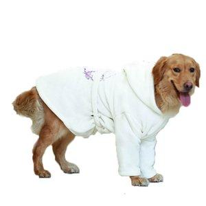 Winter Big Dog Clothes Bathrobe Large Dog Pajamas Night Gown Samoyed Golden Retriever Labrado Husky Bull Terrier Clothing Coat 201102